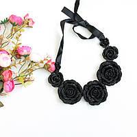 Колье женское Розы черные, вечерние украшения