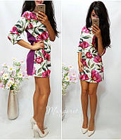 Платье трапеция короткое с рукавом трикотаж в цветочный узор разные расцветки SMa586