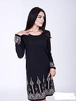 Красивое женское платье с жаккардовым узором