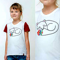 Вышитая футболка для девочки 'Маленькая лисичка'