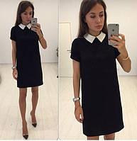 Короткое прямое платье с короткими рукавами и воротничком