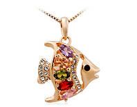 Подвеска «Золотая рыбка» с кристаллами Сваровски и цирконием, купить в Харькове, Украине