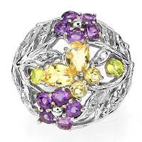 Кольцо с натуральным АМЕТИСТОМ, ЦИТРИНОМ и ПЕРИДОТОМ (мультикамнями) от ювелирного магазина Рубиновая Мечта