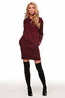 Короткое трикотажное прямое платье с карманами по бокам