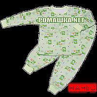 Детская байковая пижама для мальчика с начесом р. 122 ткань ФУТЕР 100% хлопок ТМ Алекс 3187 Зеленый