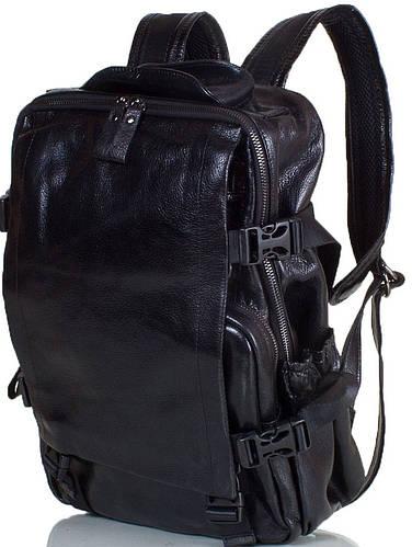 Компактный мужской рюкзак из натуральной кожи с карманом для ноутбука ETERNO (ЭТЭРНО) ET88022-2 черный