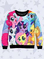 Модный 3D-свитшот/толстовка Дружба - это чудо (My Little Pony) персонажи с ярким мультяшным принтом.