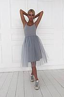 Женское модное платье с фатином (3 цвета)