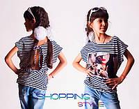 Детская футболка для девочки Капелька 5 полосатая