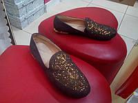 Туфли женские  замшевые коричневые Sopra .