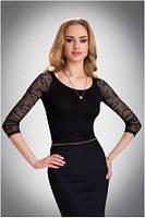 Блузка, кофточка женская черная с длинным рукавом Eldar ULA офисная деловая одежда