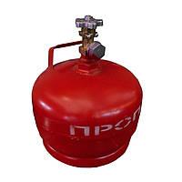 Баллон пропан 5 литров, максимальное давление 2,5 бара, масса 4 кг, производитель Украина