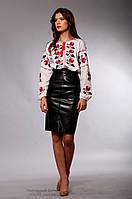 Женская украинская вышиванка Роза. Красно-черная вышивка