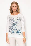 Женская блуза из вискозы с цветочным принтом синего цвета. Модель Z57 Sunwear. Коллекция осень-зима 2017.
