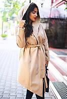 Кашемировое пальто с капюшоном женское