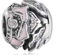 Пандора шарм Розы, серебро эмаль