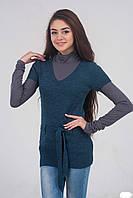 Модный женский удлиненный жилет с поясом