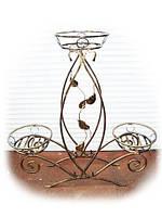 "Кованая подставка для цветов ""тюльпан"" на 3 вазона"