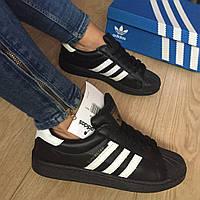 Кроссовки реплика белые Adidas Superstar черные, кроссовки женские Адидас Суперстар