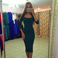 Платье облегающее темно зеленого цвета ниже колен ЮГ 2508