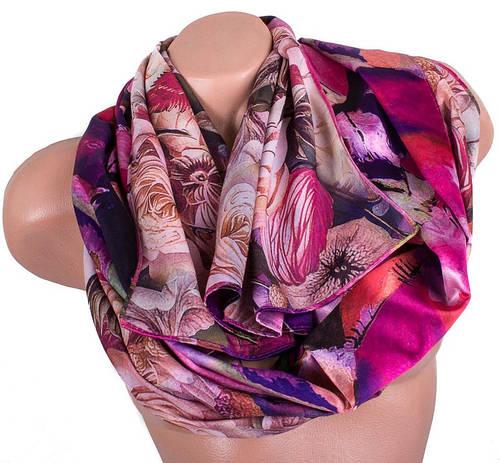 Женский шелковый двусторонний шарф 168 на 47 см Eterno ES2707-1-4 розовый
