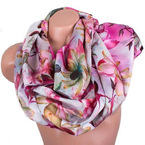 Привлекательный женский шелковый шарф, двусторонний 170 на 47 см Eterno ES2707-1-6 разноцвет