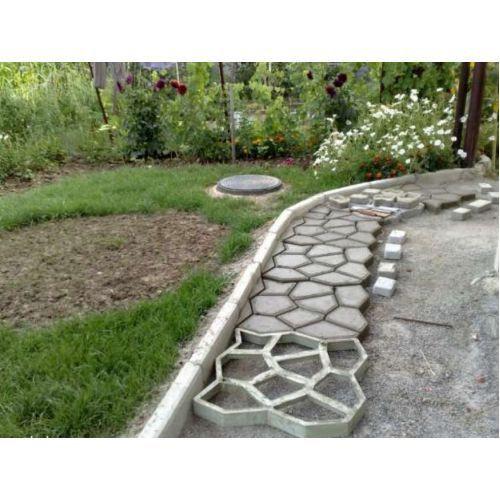 Форма садовая дорожка 600*600*60 + бордюр классика