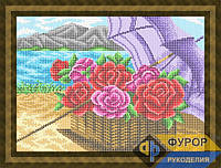 Схема для полной вышивки бисером на габардине. Арт. НБп3-85  Букет розы под зонтиком