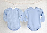 Детские боди набор для новорожденных мальчиков с длинным рукавом (нежно голубой) из абсолютного хлопка