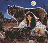 """Схема для вышивки бисером """"Девушка с волками"""""""