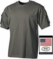 Тактическая футболка (M) спецназа США, тёмно-зелёная, с карманами на рукавах, х/б MFH 00121B
