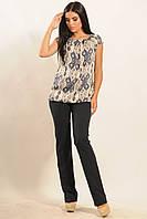 Летняя свободная штапельная блуза с орнаментом 42-52 размеры