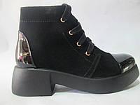 Женские зимние ботинки замш+лак на шнурках PAPUCHI 227, р 36-40