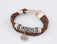 Элегантный плетеный браслет с подвеской и кольцами, цвет коричневый