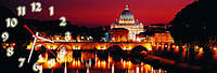 Вечерние мосты часы настенные 30*90 см фотопечать