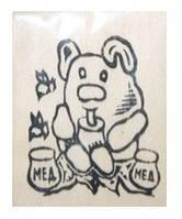 """Дер. заготовка """"Мишка с медом"""" на магните с контурами рисунка 6х9см Бук"""