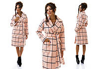 Женское демисезонное пальто в клетку на запах