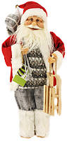 Санта Клаус  45см в красной шубе с санями
