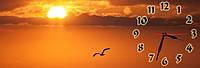 Морской закат часы настенные 30*90 см фотопечать