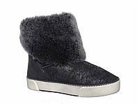 Женские зимние сапоги-ботинки из дубленой кожи