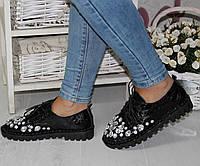 Штиблеты туфли в крупных камнях на шнуровке с 36 по 41 размер