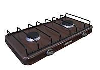 Настольная газовая плита для дачи Вогник: 1700 Вт, 2 конфорки, механическое управление, 52х33х12 см