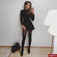 Короткое платье с длинными рукавами и расклешенной юбкой