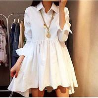 Короткое платье с рубашечным воротником и отрезной пышной юбкой