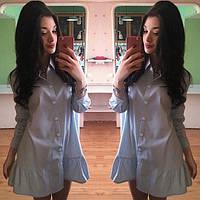 Короткое платье на пуговицах с воланом по низу юбки
