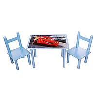"""Детский деревянный столик и два стульчика """"Тачки"""""""