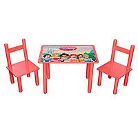 """Детский деревянный столик и два стульчика """"Принцессы"""""""