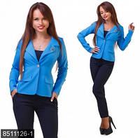 Повседневный женский пиджак приталенного кроя с отложным воротником и длинным рукавом стрейч габардин батал