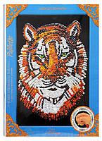 Картина-мозаика из пайеток Тигр от Danko Toys в декорированной рамочке