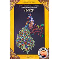 Картина-мозаика из пайеток Павлин от Danko Toys в декорированной рамочке